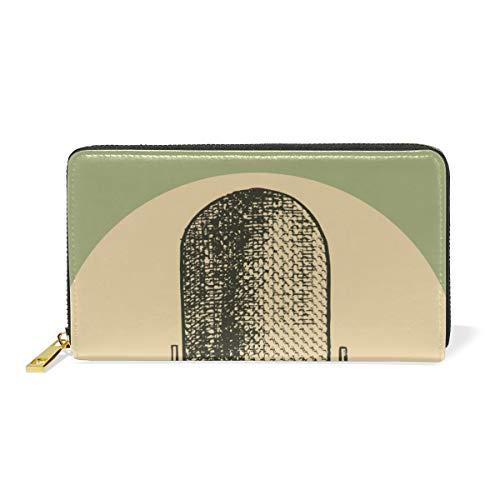 Kunstvintage microfoon muziek dames portemonnee portemonnee grote echt leer portemonnee kaartsleuven organizer voor vrouwen meisjes