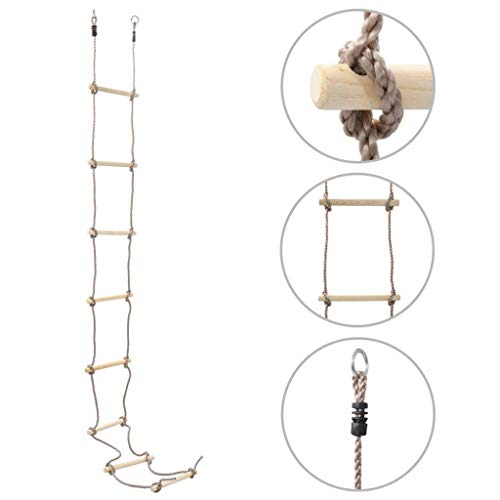 vidaXL Escada de corda infantil 290 cm madeira