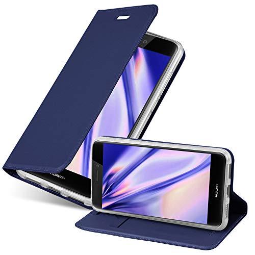Cadorabo Funda Libro para Huawei P8 Lite 2017 en Classy Azul Oscuro - Cubierta Proteccíon con Cierre Magnético, Tarjetero y Función de Suporte - Etui Case Cover Carcasa