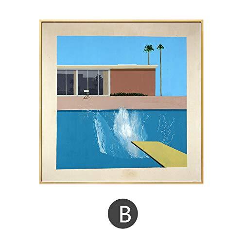 wen-shhen No frameDavid Hockney A Bigger Splash Artist Benutzerdefinierte Home Decoration Poster und Drucke Wand Leinwand Kunst für Wohnzimmer Badezimmer Dekor 50x50cm