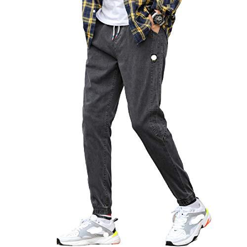 Pantalones Vaqueros de Moda para Hombre, Sueltos y versátiles, Rectos, de Pierna Ancha, otoño, Moda Informal, Pantalones Vaqueros Deportivos Ajustables al Tobillo L