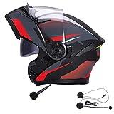 KuaiKeSport Casco Modular de Motos,Casco de Moto con Bluetooth Integrado ECE Homologado para Patinete Electrico Motocicleta Bicicleta Scooter con Gafas de Doble Protección Mujer y Hombre,Style7,XL