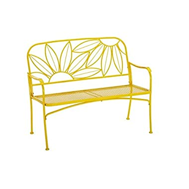 Hello Sunny Outdoor Patio Bench, with Armrests,rounded Corners and a Sturdy Frame, Enhances the Backrest That Greets You,your Family and Guest, Yellow (Sunny Yellow) (Sunny Yellow)
