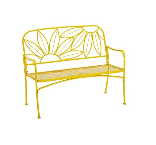 yellow floral outdoor bench