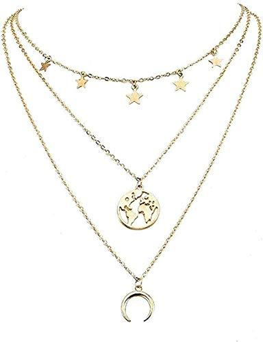 Ahuyongqing Co.,ltd Collar, Collar, Collar con Personalidad, Mujeres, Pentagrama, Mapa del Mundo, Luna, combinación, Collar en Capas, Accesorios