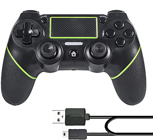 PomisGam PS4 Controller for Playstation 4/Pro/Slim/PC Windows(7.8.10)/Steam, Wireless Gaming Controller with Charging Cable, Audio Function, Mini LED Indicator and Anti-Slip