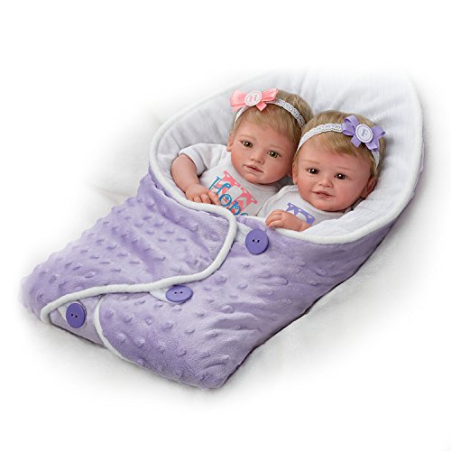 The Ashton-Drake Galleries Mayra Garza Lifelike Poseable Twin Baby Doll Set with Baby Bunting
