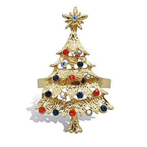 Christmas Tree Napkin Rings Set of 8 Holiday Table Decor Xmas Gift Winter Wedding Favors Accessories (Christmas Tree, 8)