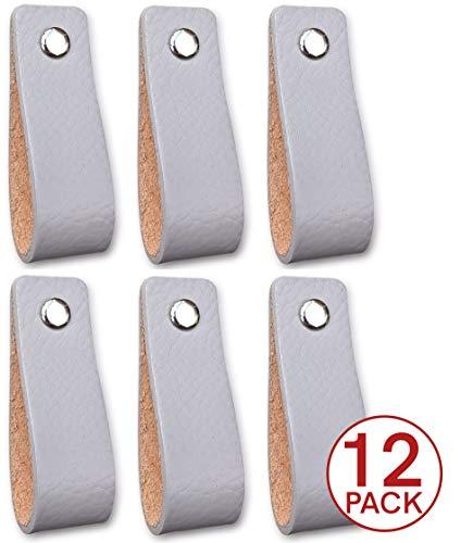 Tiradores de piel para muebles, color gris claro, 12 unidades, mango de piel para armarios, cocina y puerta, se envía con tornillos en 3 colores