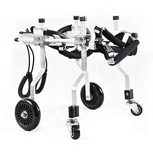ZGYQGOO Hunderollstuhl, Aluminium-Edelstahl-Haustier-Roller-Haustier-Rehabilitations-justierbarer Trainings-Rollstuhl für behindertes Hundekatzen-Haustier, S