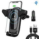 Insert Clamping Wireless Car Charger Mount,VanRayal 10W 7.5W Fast Charging Air Vent Car Phone Holder for iPhone X Max/XS/XR/8Plus/8,Samsung Galaxy Note 9/ S9/ S8,Google Pixel 3(Set)
