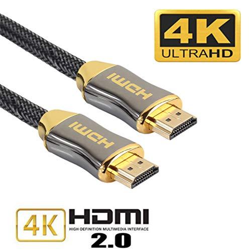 Xiaoxin HDMI-kabel 2.0, hoge snelheid, 15 m (nieuwste standaard), ondersteunt Ethernet, 3D, ondersteunt 4 K verguld, kop van zinklegering, riem geweven, HDMI-kabel