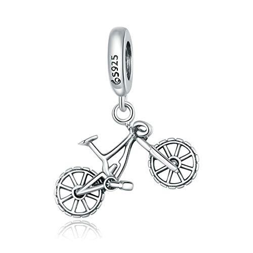 DFHTR Ciondolo in Argento Sterling 925 per Donna Bracciale O Braccialetto Mountain Bike Perline Abbaglianti Gioielli Fai da Te
