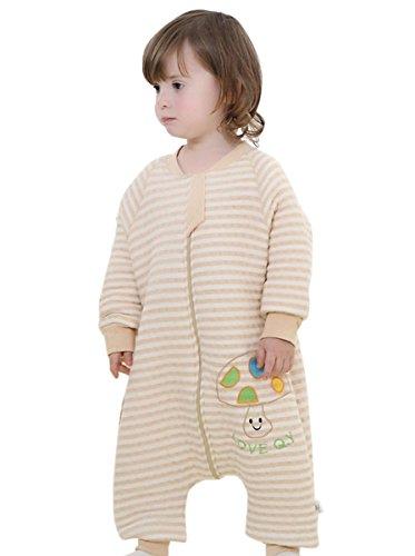 Happy Cherry Saco de Dormir con Piernas Mangas Sleeping Bag Algodón para Bebé Niño Unisex 1-2 Años Primavera Otoño Rayas - L - Beige