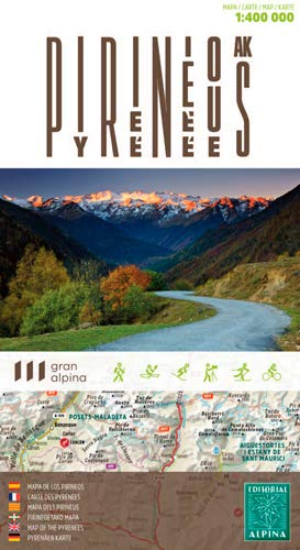 Pirineos, mapa de carreteras. Escala 1:4000.000. Editorial Alpina.