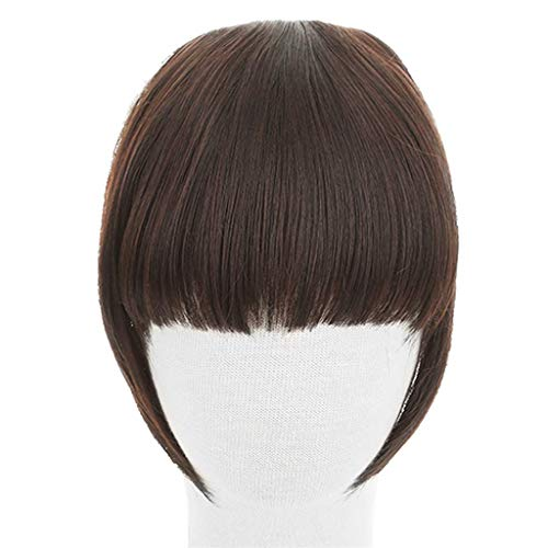 Court naturel Mesdames Mode Postiches Extension Clip droit devant Bangs Piece Cheveux épais humaine Pièces perruque synthétique pour les femmes,Marron