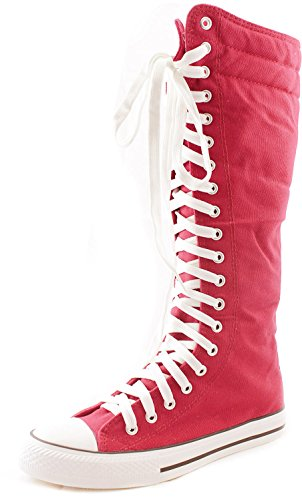 DailyShoes Women#039s Sneaker Boots Knee High Mid Calf Tube Fashion Sneakers Lace Up Shoes Fall Winter Laceup Super Top Athletic for Women Punkhi Fuchsia 12