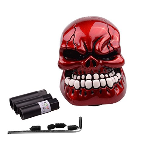 ABy Human Bone Skull Gear Stick Shift Shifter Knob Lever Cover Universal Fit for Most Manual Transmission Vehicles(Red)
