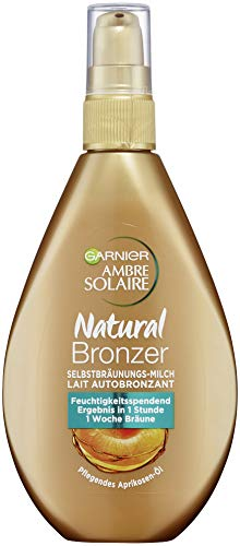 Garnier Ambre Solaire Natural Bronzer Milch, für eine natürliche Bräune, die bis zu 1 Woche hält, zieht schnell ein, 150 ml