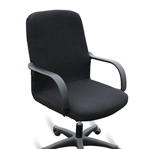 Btsky, coprisedia da ufficio in stile moderno, elasticizzato, rimovibile, resistente, per sedia girevole da ufficio con braccioli (sedia non inclusa), Black, medium