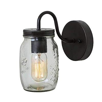 Bagood Glass Pendant Light 3 Mason Jar Semi Flush Mount Close to Ceiling Light fixtures, Brown