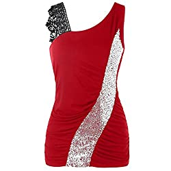 Red Lace Sleeveless Tank Tops Skew Collar Sequined Blouses