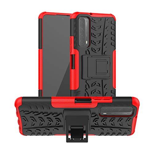 FaLiAng Pneumatici Cover per Huawei P Smart (2021) / Y7A 6,67', 2in1 Armatura Combinazione Custodia Antiurto Scudo Body Armor Copertura Defender Case con Supporto (Rosso)