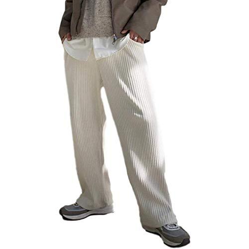 Pantaloni Casual in Velluto a Coste da Uomo Moda Semplice Tinta Unita Pantaloni Larghi Diritti Versatili e Confortevoli con Tasche XL