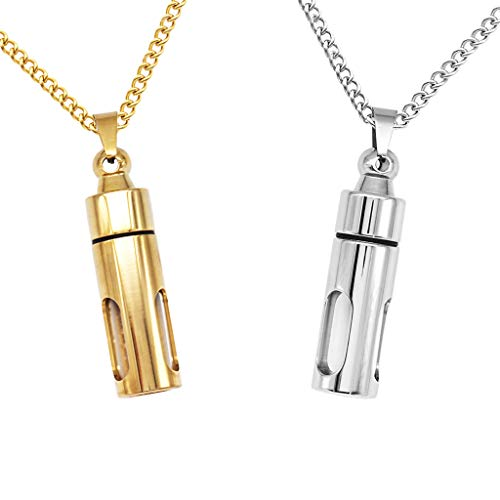Harilla 2 Color Pill Container Vial Tube Urn Keepsake Cremation Holder Memorial Necklace