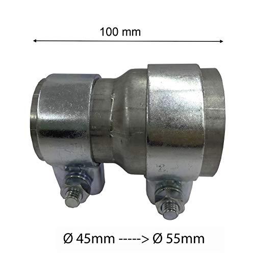 Reductor de tubo de escape, adaptador con 2 abrazaderas de fijación, abrazadera de banda ancha, reductor reductor de conexión, reductor de tubo (45 mm de diámetro a 55 mm de diámetro)