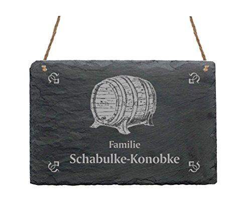Leistenen bord « Familie -IHR NAME- » met WHISKY FASS motief - 22 x 16 cm - deurplaat van leisteen - Whiskey Bar huisbar