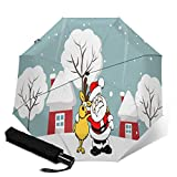 Paraguas de Papá Noel con diseño de Reno para Navidad, Temporada Festiva, diciembre, Sol, Lluvia, automático, Triple Pliegue Ver Imagen Talla única