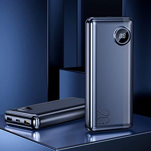 Rock Batería Externa 20000mAh Power Bank, USB C 63W Max Carga rapida Bateria Portatil con 45W PD Carga rapida para iPhone, Laptop, Macbook, iPad, 18W QC3.0 Carga rapida para Samsung y más - Negro