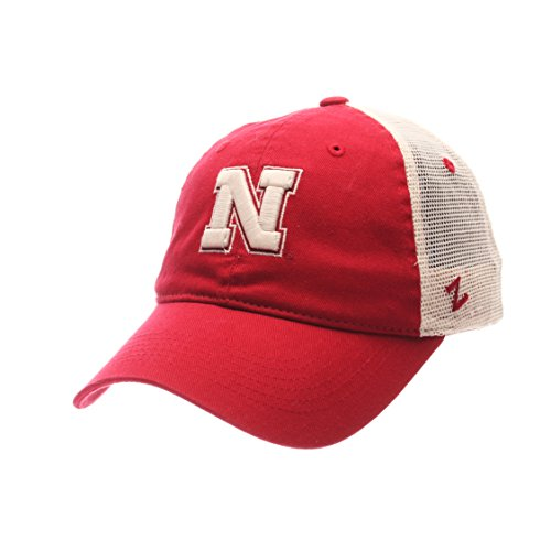 NCAA Zephyr Nebraska Cornhuskers Mens University Relaxed Hat, Adjustable, Team Color/Stone