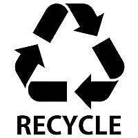 nc-smile ゴミ箱用 分別 シール ステッカー recycle リサイクル Mサイズ 80mm幅 (ブラック)