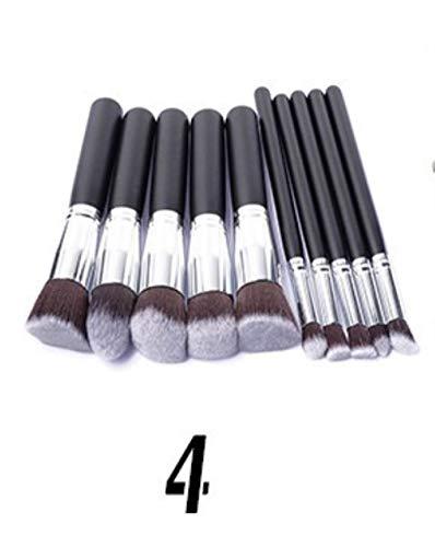 DQC 10 pcs/Ensemble Facial Eye Shadow Blending Brush Set Makeup Brush Kits Soft, Silver Tube Black