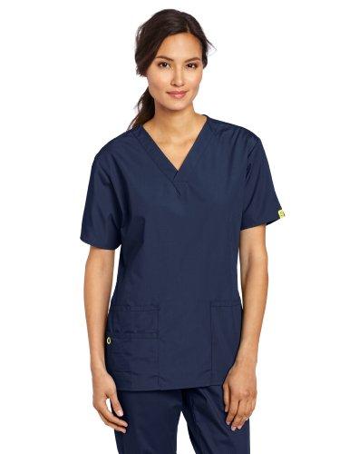 WonderWink Women's Scrubs Bravo 5 Pocket V-Neck Top, Navy, Small