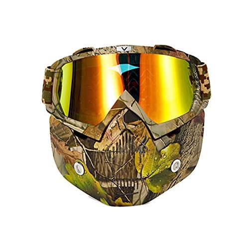 Gafas Ciclismo,Gafas Motocross,Hombre Gafas tácticas,Militares Gafas Motocross,Gafas de Motocicleta con mascarilla Desmontable para Carreras de equitación en el Desierto para Hombres y Mujeres