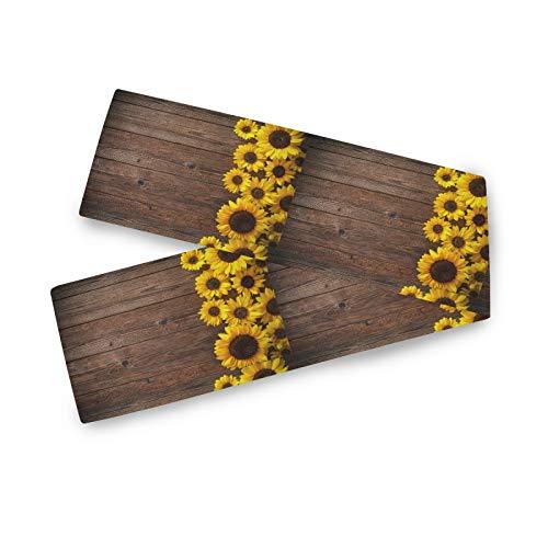 TropicalLife Camino de mesa BGIFT de madera con diseño floral de girasol, 33 x 229 cm, poliéster, para bodas, fiestas, cocina, comedor, centro de café, decoración de mesa