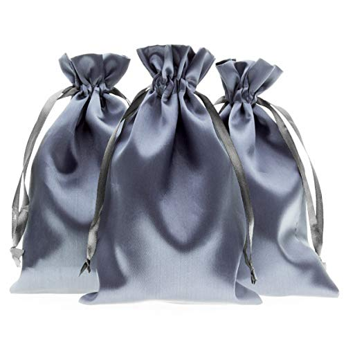 """Knitial 5"""" x 8"""" Silver Satin Gift Bags, Jewelry Bags, Wedding Favor Drawstring Bags Baby Shower Christmas Gift Bags 50 per Pack"""