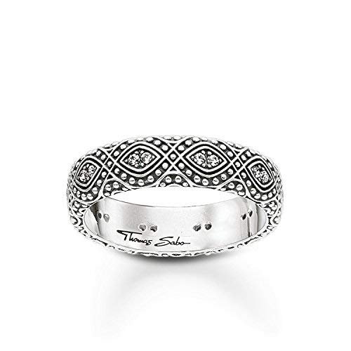 THOMAS SABO Damen-Ring 925 Sterling Silber geschwärzt Zirkonia weiß Gr. 52 (16.6) TR2092-643-14-52