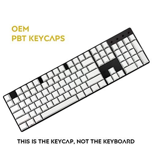 104 teclas laterales impresos PBT OEM Keycaps el formato puede hacer tecla clave para conjuntos mecánicos teclado solamente venta Keycaps Gaming tecla clave,blanco