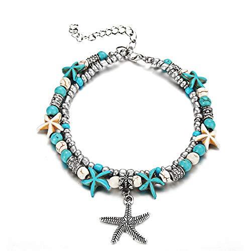 Cadena boho plateada para tobillo, 1 pieza azul mar tortuga Lotus Mar ola etc para playa mujeres imitaciones perlas pie pulsera