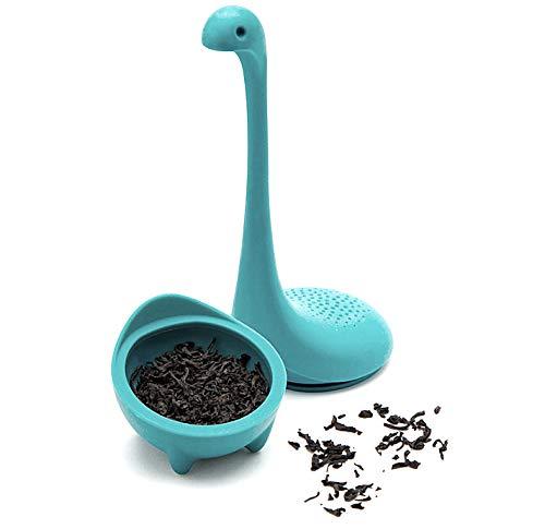 1 Lil Dino BPAfree Tea Infuser  Dinosaur Loose Leaf Tea Infuser with Long Handle Neck Cute Tea Infuser Lake Monster Silicone Tea Strainer amp Steeper Teal Color