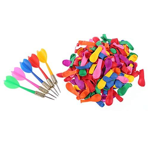 STOBOK 10 Stücke Ballon Spiel Set, Stücke Kunststoff Dartpfeile Metallspitze und 500 Stücke Latex Ballon Dartspiel für Kinderparty