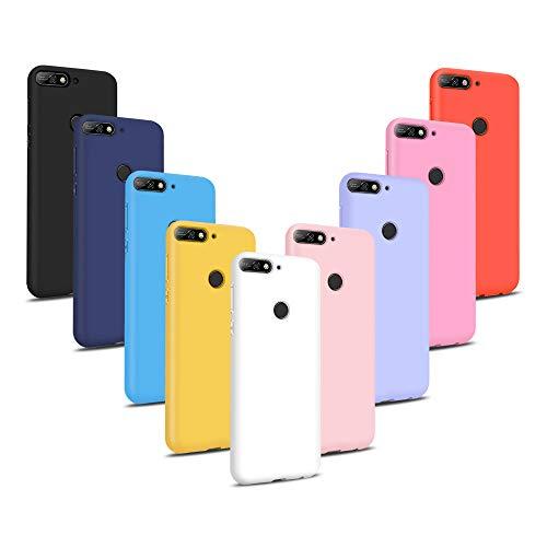 9X Fundas para Huawei Y7 2018, Carcasas Flexible Suave TPU Silicona Ultra Delgado Protección Caso(Rojo + Rosa Claro + Púrpura + Amarillo + Rosa Oscuro + Verde + Negro + Azul Oscuro)