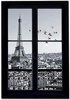 comprar comparacion GoGoVolt Vinilo Adhesivo Efecto Ventana 3D. 70 x 50 cm. París en Blanco y Negro con Vistas de la Torre Eiffel. Elegante De...