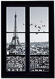 GoGoVolt Vinilo Adhesivo Efecto Ventana 3D. 70 x 50 cm. París en Blanco y Negro con Vistas de la Torre Eiffel. Elegante Decoración para la Pared.