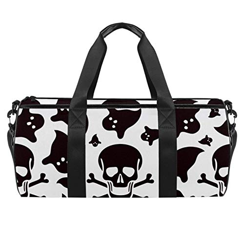 LAZEN Hombro Handy Sports Gym Bags Travel Duffle Totes Bag para Hombres Mujeres Skull Skeleton Ghost