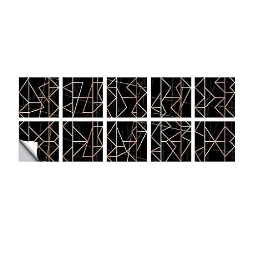 Pegatinas para azulejos de pared autoadhesivas, resistentes al agua, para cocina, decoración de baño, diseño geométrico de bronce, para dormitorios y niñas